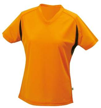 James & Nicholson Women's Running T Maternity T-Shirt, Orange/Black, XL