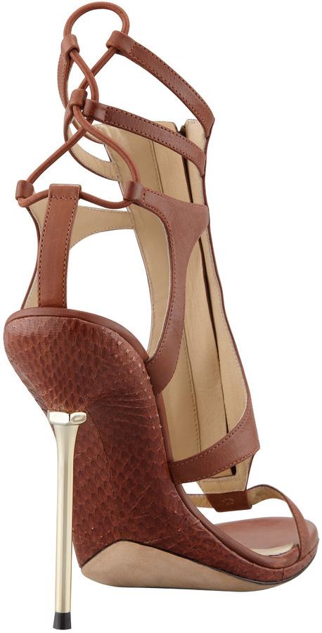 Brian Atwood Merritta Zip-Front Sandal, Brown