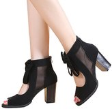 Getmorebeauty Womens Peep Toe Cut Out Bows Vintage Chunky Heel Ankle Boots