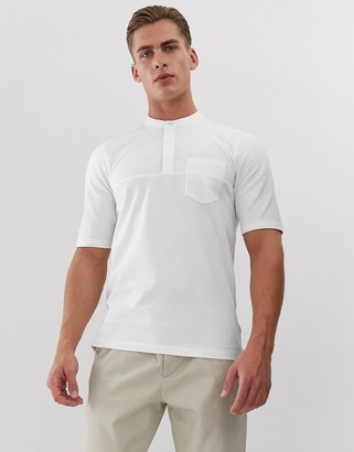 Jack and Jones revere collar striped short sleeve shirt in white