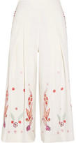 Temperley London Lysander Cropped Embroidered Crepe Wide-leg Pants - UK12