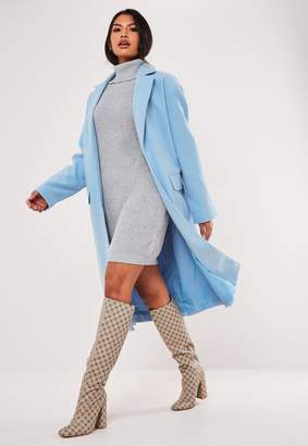 Missguided Blue Belted Formal Maxi Coat
