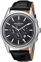 Peugeot Men's MK910SBK Stainless Steel Watch with Embossed Leather Band