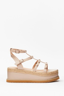 Nasty Gal Womens I'll Be Stud to You Faux Leather Platform Sandals - Nude