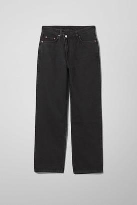 Weekday Skew High Crossover Straight Jeans - Black
