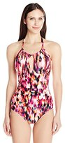 Kenneth Cole New York Women's Floral Explosion Hi-Neck Mio One Piece Swimsuit