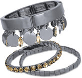 Thalia Sodi Hematite-Tone 3-Pc. Set Yellow Stone Bangle Bracelets, Created for Macy's
