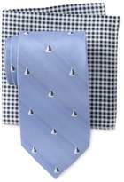 Tommy Hilfiger Small Boat Tie & Gingham Pocket Square Set