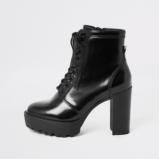 River Island Black lace-up high heeled ankle boots
