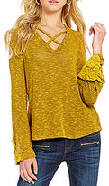 Blu Pepper Lattice-V-Neck Bell-Sleeve Knit Top