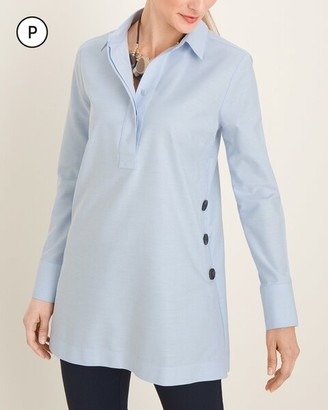 No Iron Petite Oxford Button-Detail Cotton Tunic