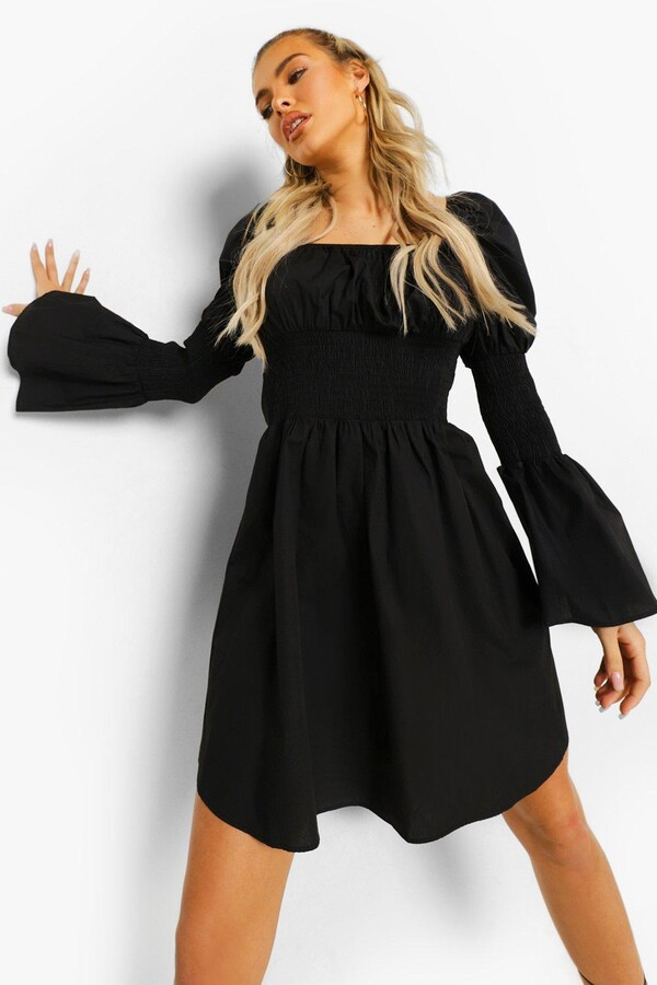 Thumbnail for your product : boohoo Cotton Puff Sleeve Gathered Bust Smock Dress
