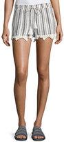 Joie Angelle Striped Tassel Drawstring Shorts, White
