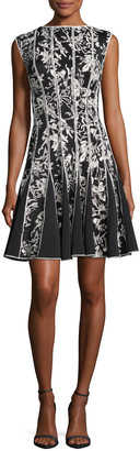 Tadashi Shoji Sleeveless Embroidered Cocktail Dress, Black/White