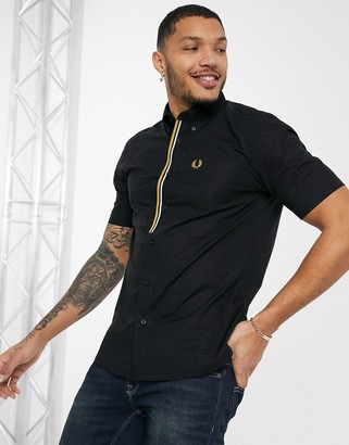 Fred Perry taped placket short sleeve shirt in black