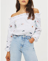 Topshop Off-the-shoulder cotton top