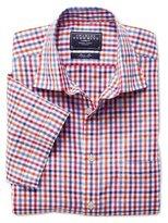 Charles Tyrwhitt Pink multi gingham linen mix short sleeve shirt