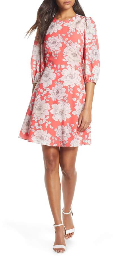 Eliza J Balloon Sleeve Fit & Flare Dress