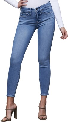 Good American Good Legs Notched High Waist Ankle Skinny Jeans