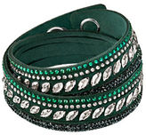 Swarovski Slake Pulse Green Crystal-Accented Leather Wrap Bracelet
