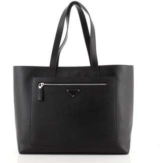 Prada Front Pocket Open Tote Saffiano Leather Large