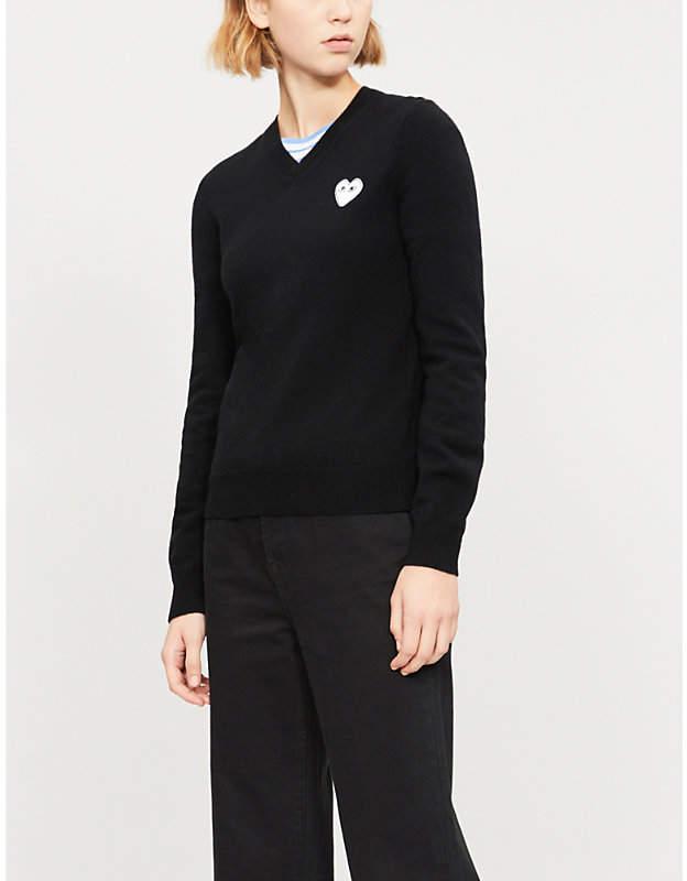Comme des Garcons Heart-appliqué wool jumper