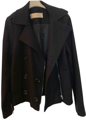 Sessun Blue Wool Leather Jacket for Women