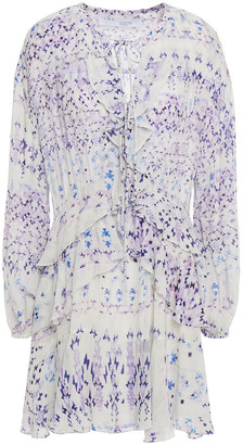 IRO Lace-up Ruffle-trimmed Pleated Printed Crepe Mini Dress