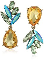 """Betsey Johnson Calypso Betsey"""" Faceted Stone Pineapple Mismatch Drop Earrings"""