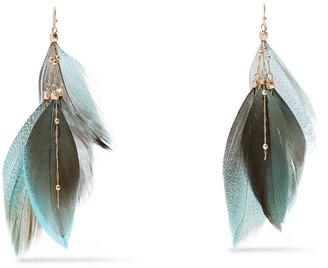 Kenneth Jay Lane Gold-tone Feather Earrings