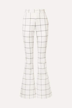 Rebecca Vallance Pierre Checked Twill Flared Pants - Ivory