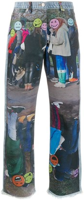Natasha Zinko Graphic-Print Straight-Leg Jeans