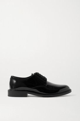Saint Laurent Cromel Patent-leather Brogues - Black