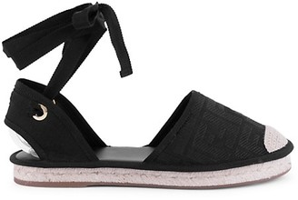 Fendi Ankle-Wrap Espadrille Sandals