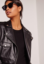 Missguided Half Frame Silver Detail Sunglasses Black