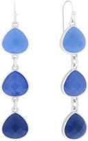 Liz Claiborne Blue and Silver-Tone Linear Earrings