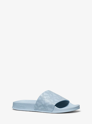 MICHAEL Michael Kors MK Gilmore Logo Leather Slide Sandal - Pale Blue - Michael Kors