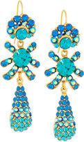 Jose & Maria Barrera Golden Pave Crystal Triple-Drop Earrings, Blue