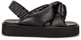 Miu Miu Padded Leather Flatform Sandals in Nero | FWRD