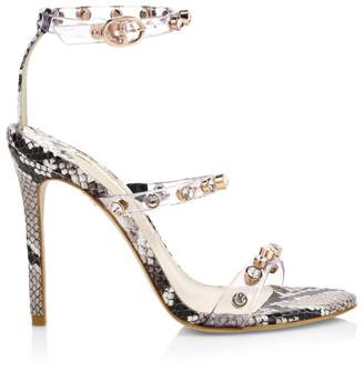 Sophia Webster Rosalind Gem Snake-Print Ankle-Strap Sandals