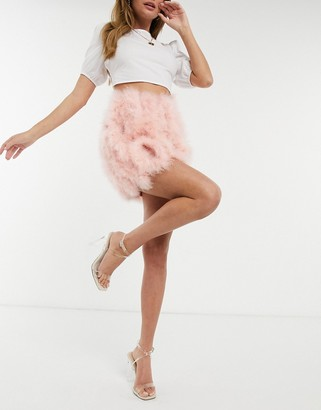I SAW IT FIRST faux feather mini skirt in pink