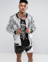 Jaded London Bomber Jacket In Silver Sequins