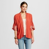 Xhilaration Women's Solid Kimono with Embroidery Juniors')