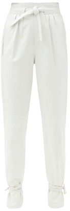 Isabel Marant Duardo Tied-ankle Leather Tapered Trousers - White