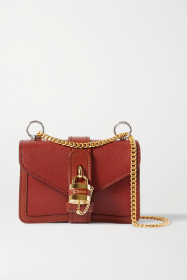 Chloé Aby Chain Mini Textured-leather Shoulder Bag - Brown