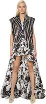 Roberto Cavalli Zebra Printed Cotton Denim Biker Vest