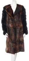 Dries Van Noten Fox-Trimmed Fur-Paneled Coat