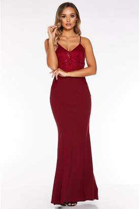 Quiz Berry Sequin Lace Strappy Maxi Dress