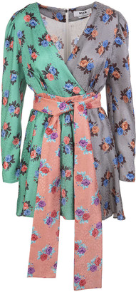 MSGM Short Patchwork Dress With Floral Pattern