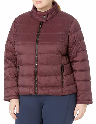 Andrew Marc Women's Plus Size Super Soft Packable Jacket with Giant Zippers